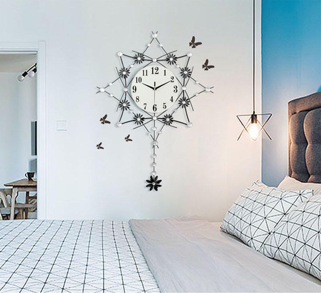北欧シンプルスタイルの壁時計、Natood ポストモダンスタイル八角形モデリング壁時計リビングルームミュート振り子時計、58.8 * 81.4 Cm、黒、電池なし B07DMF14GG
