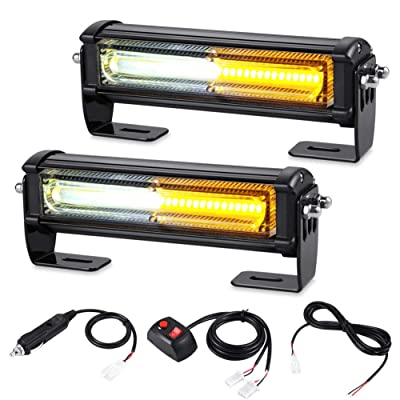 AT-HAIHAN Amber White Grille Light Head, 16W Bright Linear LED Mini Strobe Lightbar Surface Mount for POV, Utility Vehicle, Construction Vehicle and Tow Truck: Automotive