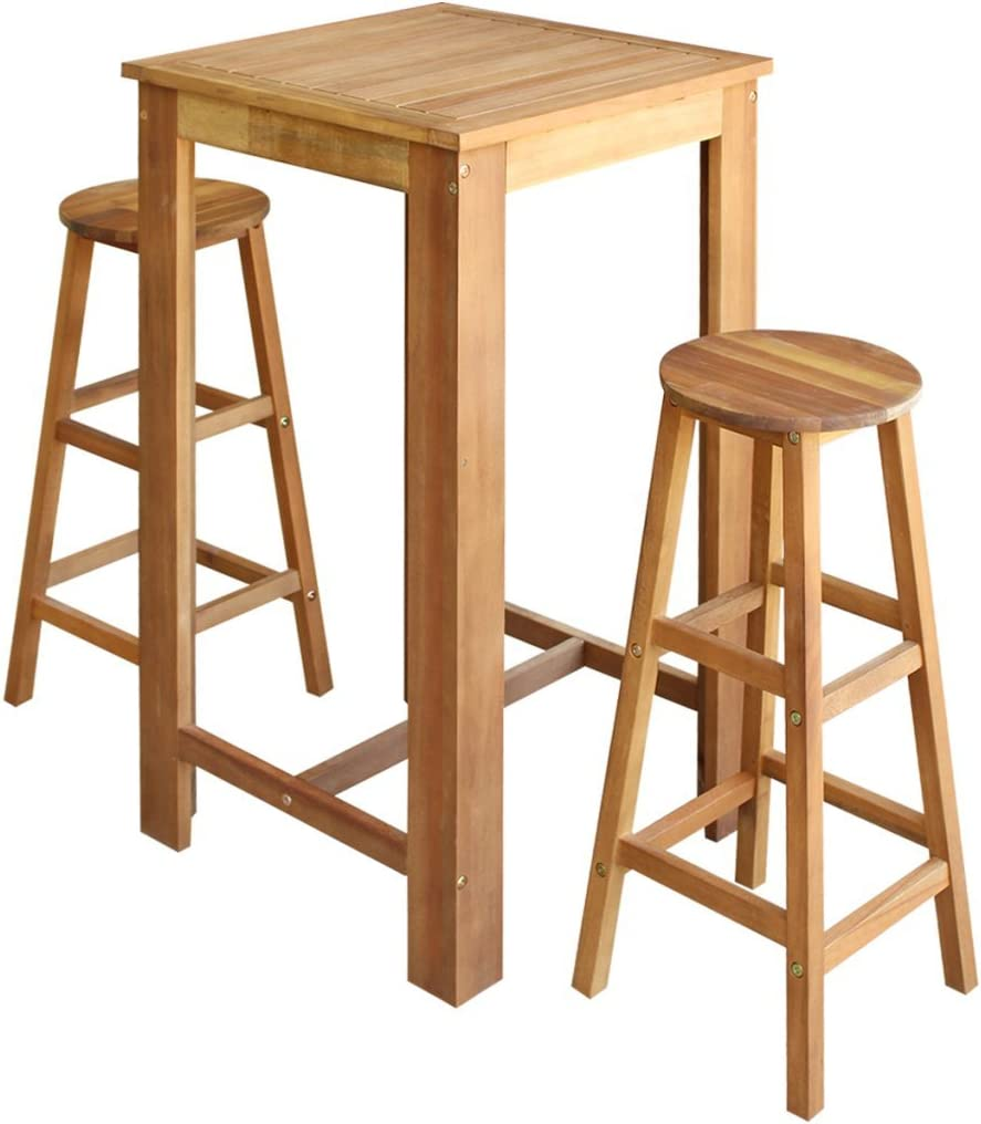 Safe Night 9 Piece Bar Table and Stool Set in Solid Acacia Wood ...