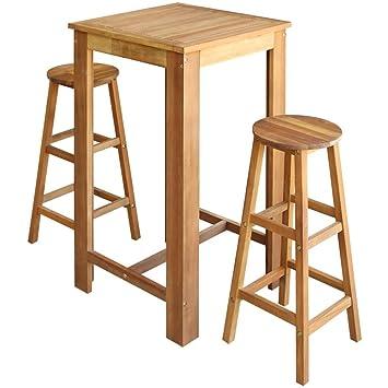 3-teilig Barset mit 2 Barhocker Stühle Stehtisch Bartisch Bistrotisch Barmöbel
