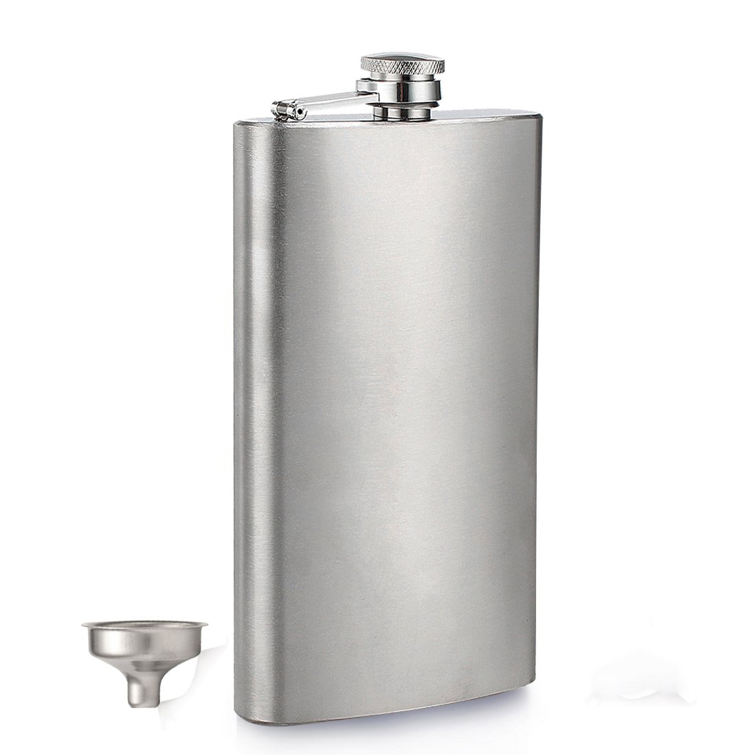 Menghao 12 oz Steel Stainless Hip Flask Silver Free Funnel Liquor Drinking of Alcohol Whiskey Gift for Men