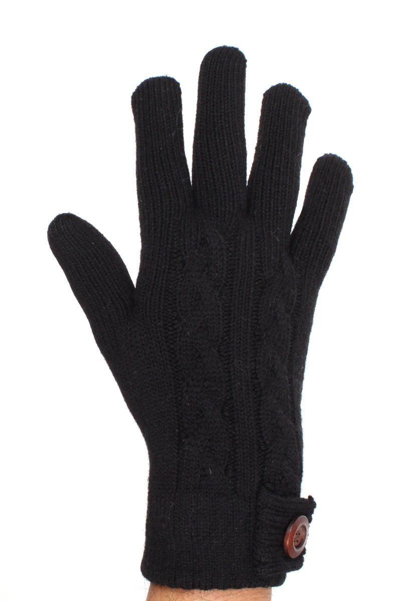 LL Adults Black Cable Knit Lined Gloves Wood Button Embellishment