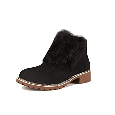 Autumn Winter Women Ankle Boots Fur Plush Shoes Chunky Heels Botines Mujer Suede Leather Snow Botas