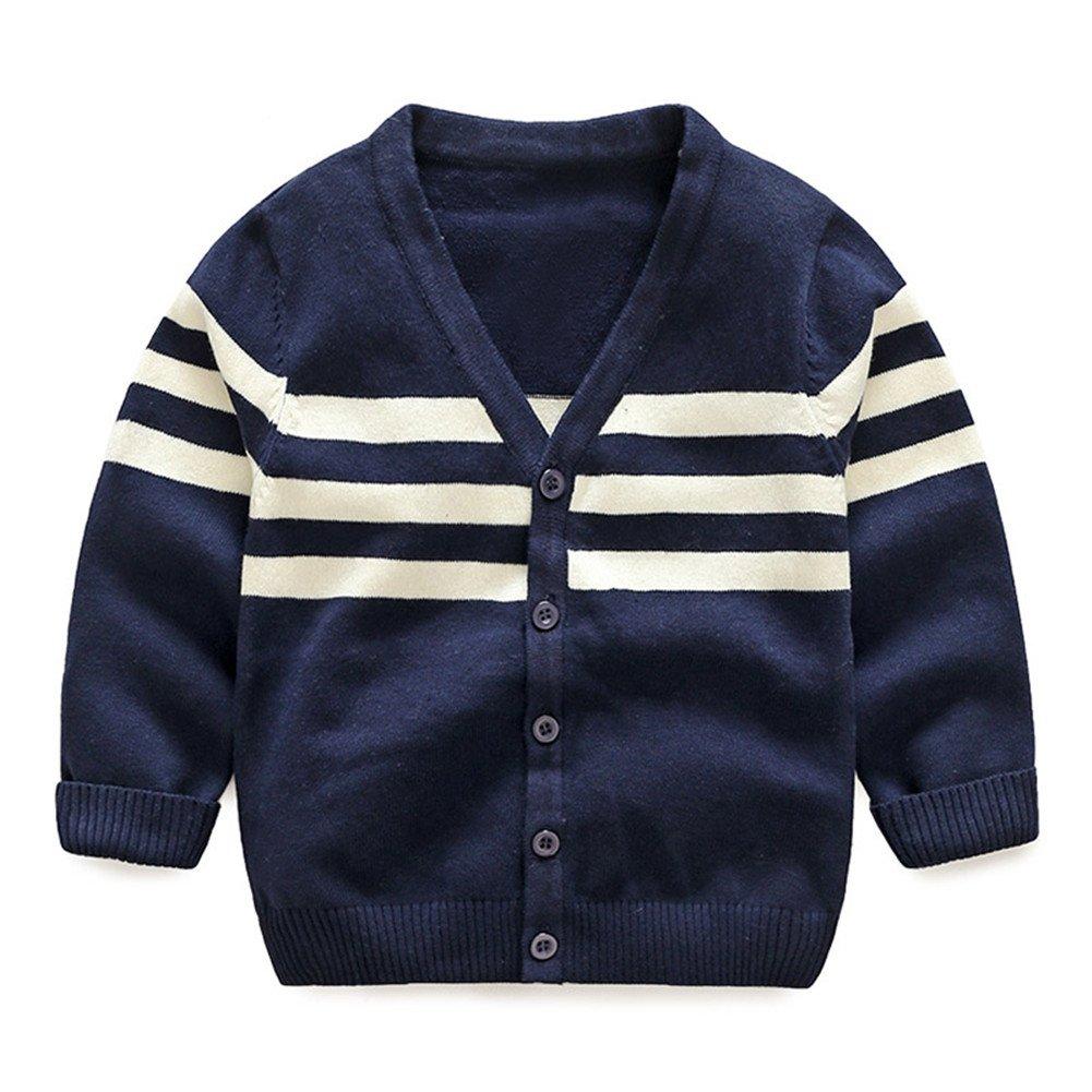 Mud Kingdom Little Boys V-neck Stripe Cardigans Button Sweaters Knit Coats Cotton Outerwears Navy Blue 2T