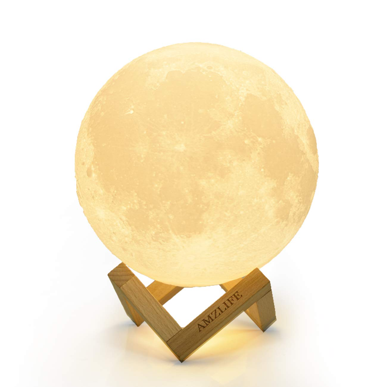 AMZLIFE 3D Printing Moon Lamp, 2 Colors Select Dimmable with Touch Sensor Switch, USB Rechargeable Decorative Night Light 4.7 inch