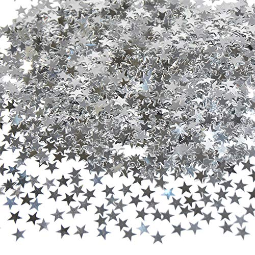 Star Confetti Silver Shiny Table Confetti for Wedding Party Christmas Seasons Holiday Decorations DIY Crafts 45g (About 3700 Pcs)