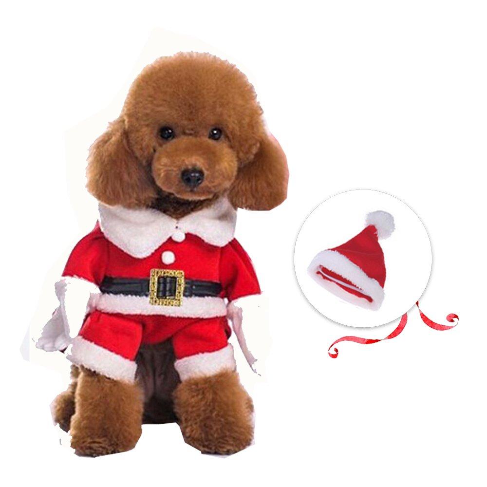 L Prumya Pet Dog Costume Cute Christmas Santa Outfit for Small Medium Doggie Cats, L