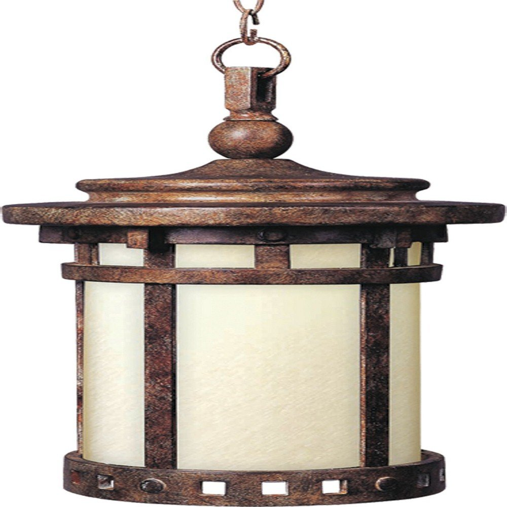 Maxim 55038MOSE Santa Barbara LED 1-Lt Outdoor Hanging Lantern, Sienna Finish, Mocha Glass, LED Bulb , 40W Max., Damp Safety Rating, Standard Dimmable, Glass Shade Material, 2016 Rated Lumens