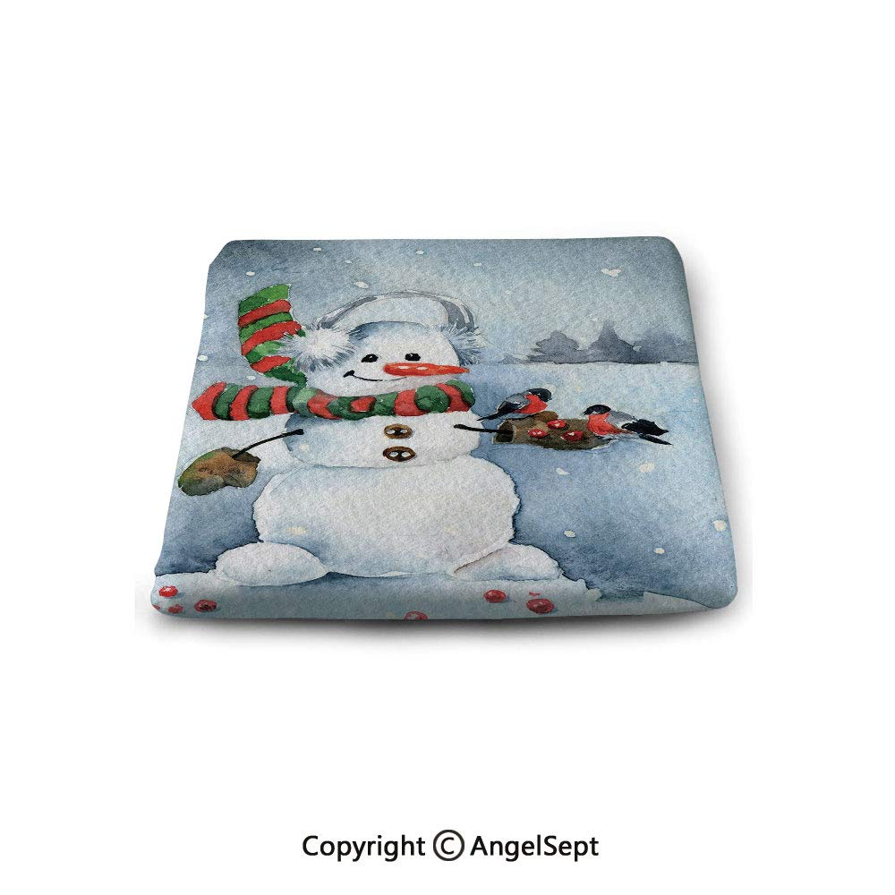 oobon Square Chair Seat Cushion for Kitchen Dining Chairs,Snowman,Watercolor Style Snowfall Outdoors Merry Christmas Theme Winter Bullfinch Birds Decorative,Multicolor,Memory Butt Pad Non Slip