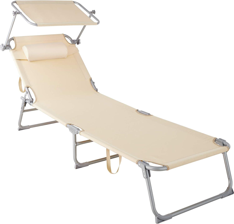 TecTake 800772 Tumbona de Playa con Parasol, Respaldo Ajustable 4 Posiciones, Reposacabezas Extraíble, Exterior Piscina Terraza Jardín (Beige | No. 403417)