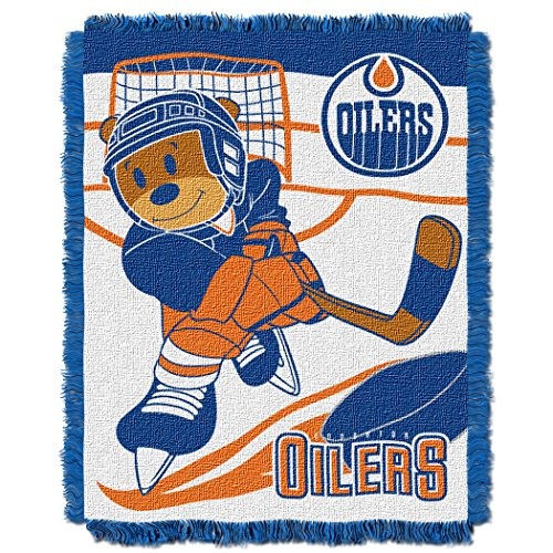 Officially Licensed NHL Edmonton Oilers Score Woven Jacquard Baby Throw Blanket, 36