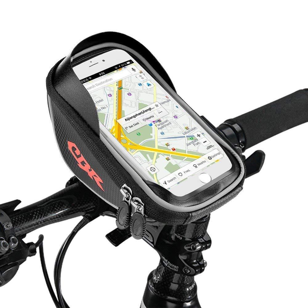 Etmury Fahrradtasche Rahmen, Fahrrad Handy Tasche (Passend bis zu 6.0 Zoll) Sensitive Touch-Screen Wasserdicht Radfahren Vorne Top Tube Rahmen Pouch für Alle Fahrräder (Schwarz)