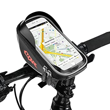 ETMURY Bolsa de cuadro para bicicletas, bolsa para el móvil para bicicletas (adecuada hasta 6,0 pulgadas), impermeable para bicicleta, bolsa para tubo ...