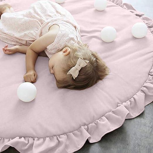 alfombra de suelo para ni/ños rosa rosa Juego de alfombras de beb/é alfombra de cama redonda