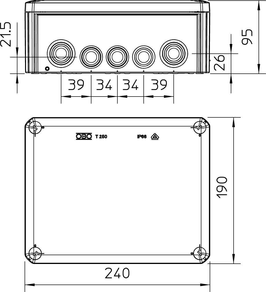 Caja derivaci/ón cono 240x190x95mm polipropileno//gf gris claro Obo-bettermann sistema conex.fij