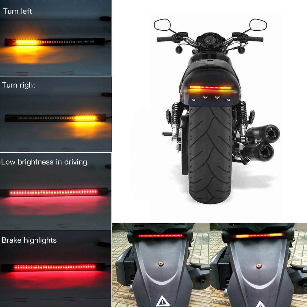 Evary 32LED 8 Flexible Light Strip for Motorbikes Harley Davidson SUV ATV Electric Cars Universal Motorcycle Tail Brake Stop Turn Signal License Plate Light