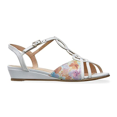 3b756398ce6e3 Van Dal Medlow Wide EE Fit Low Wedge Sandals, White/Meadow Print, Size