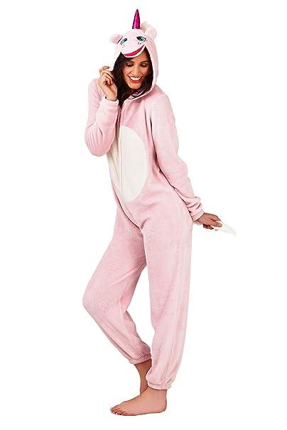 Loungeable Boutique Pijama para Mujer Onesie con Orejas de Pijama Todo en uno Unicornio Rosa Talla