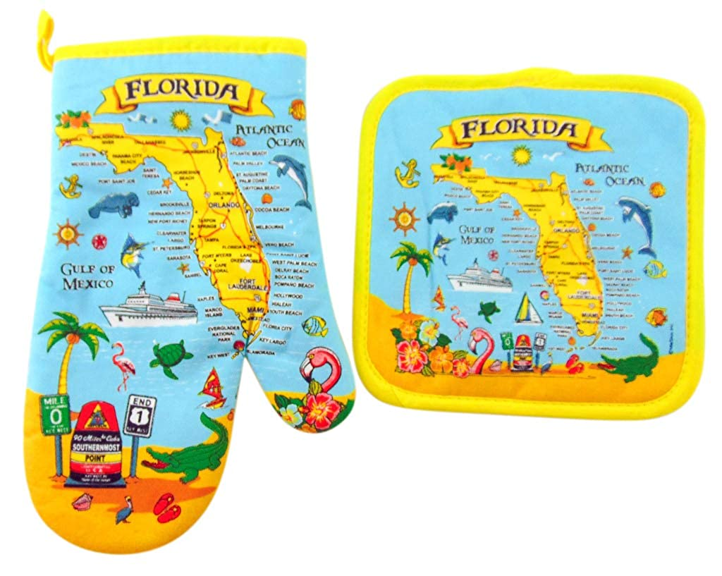 Westman Works Florida Souvenir Oven Mitt and Pot Holder Trivet Sunshine State Gift Set