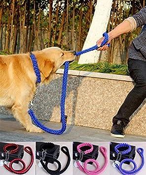 LA VIE Collar Ajustable de Nylon Incluye 120CM Correa de Perro Cuerda de Nylon Trenzado Mosquetó n Fuerte Accesorios de Adiestramiento para Mascotas Perros M Roja y Negro