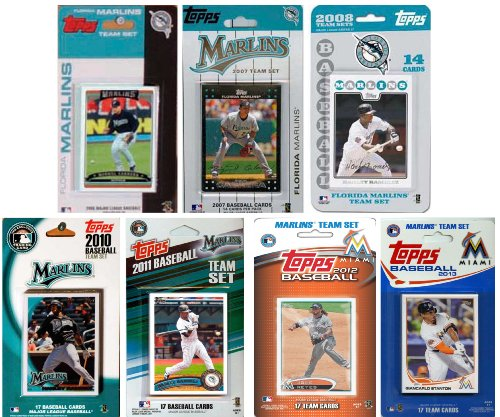 MLB Florida Marlins 7-Different Licensed Trading Card Team Set from C&I Collectables