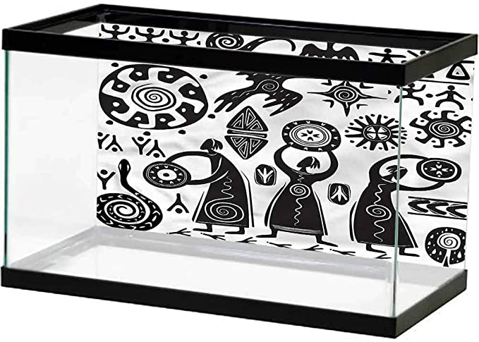 ScottDecor Primitive Fish Tank Decorative Pictures Cartoon Dancing Natives Wearing Tribal Masks Prehistoric Rituals Thicken PVC Adhesive Fish Tank Backdrop Static Cling Army Green Beige Yellow