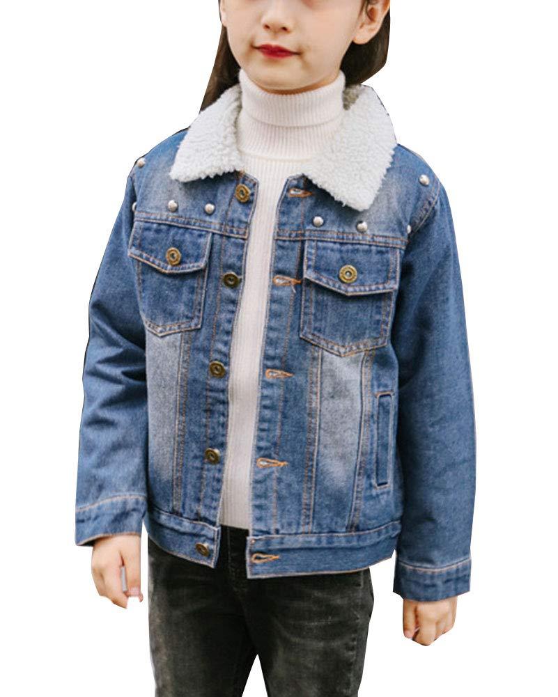 Shaoyao Bambina Ragazze Giacca di Jeans Giacche Denim Inverno Caldo Cappotto