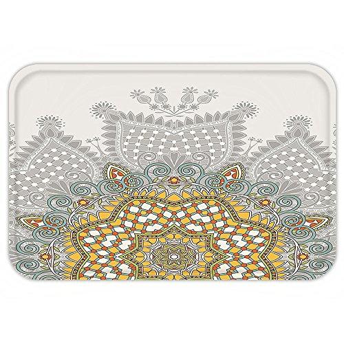 VROSELV Custom Door MatAntique Decor Collection Ornamental Floral Circular Embellished Kaleidoscope Design with Geometric Swirling PatternMulti - Rugs Kaleidoscope Collection