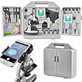 Landove Kids and Beginners Microscope Set with 300x 600x 1200x Magnifications,Metal Arm and Base,Includes 70pcs+ Accessory Set and Handy Storage Case- with Smartphone Adapter