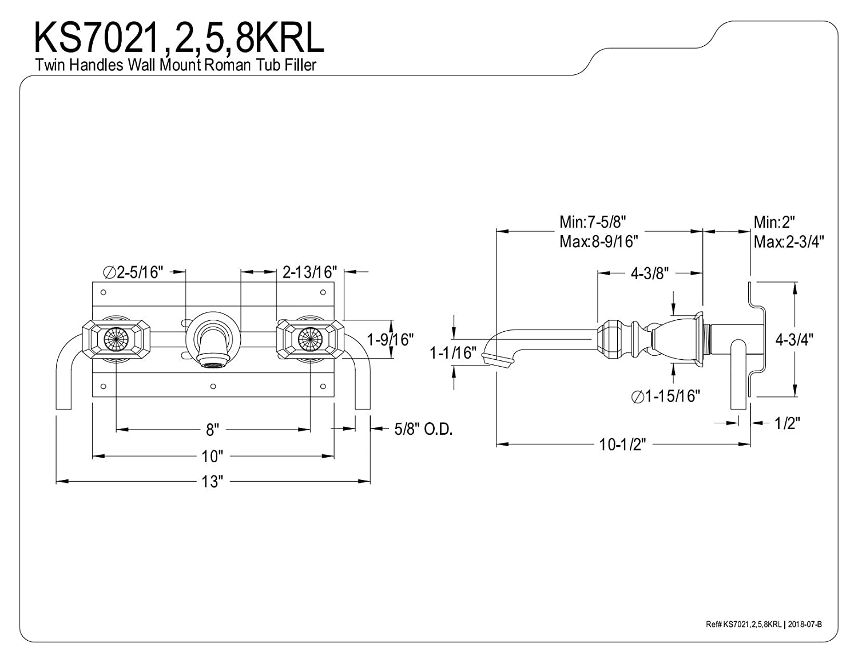 Kingston Brass KS7022KRL Krystal Onyx 8-Inch Center Wall Mount Roman Tub Filler 10-7//16 in Spout Reach Polished Brass