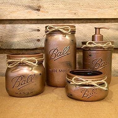 Hammered Copper Mason Jar Bathroom Set, Rustic 4 Piece Mason Jar Bath Set