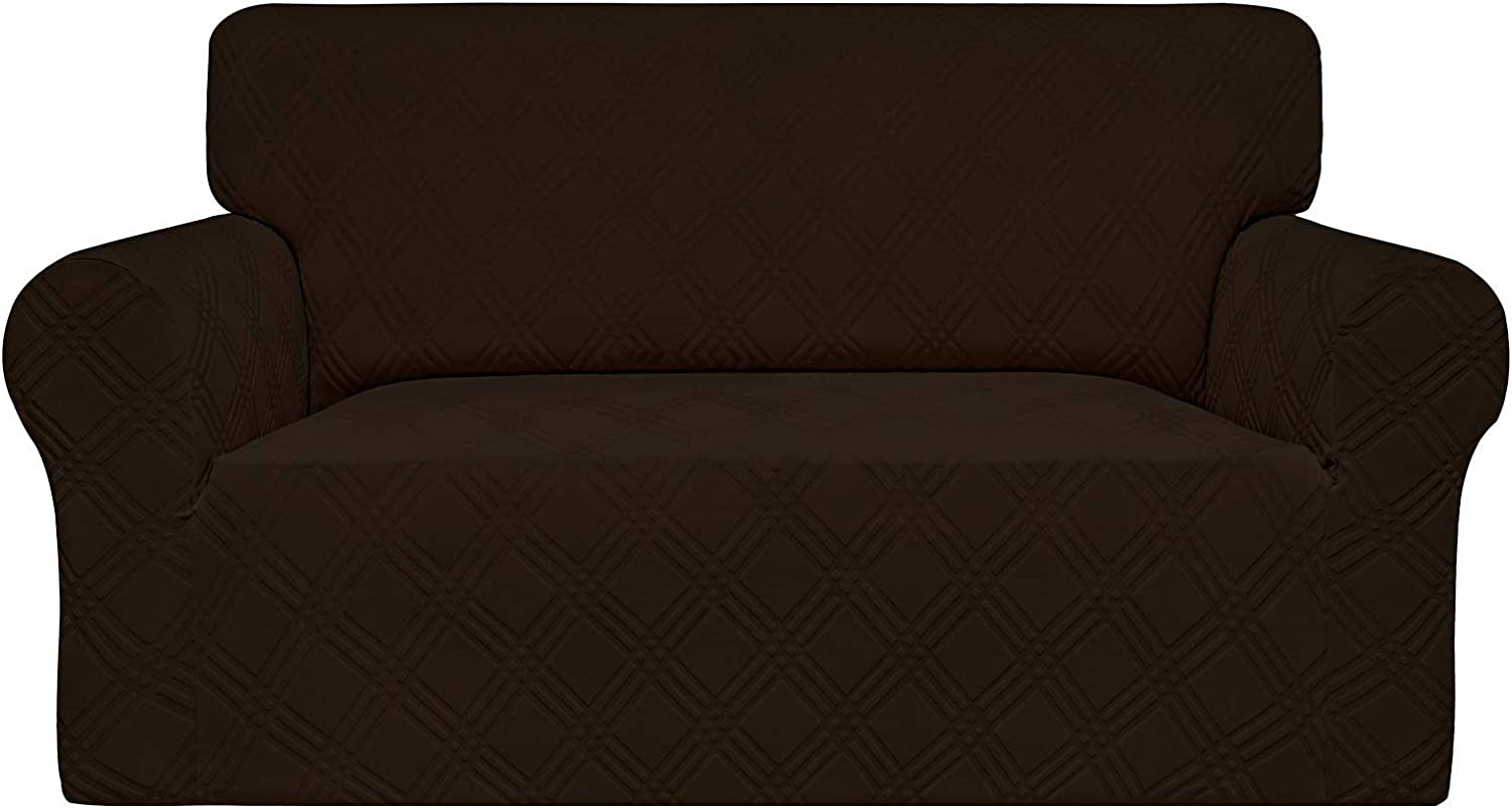 Easy-Going High Stretch Sofa Cover, 1-Piece Couch Cover for Loveseat,Stylish Jacquard Sofa Slipcover with Non-Slip Foams, Machine Washable Furniture Protector ( Loveseat, Chocolate)