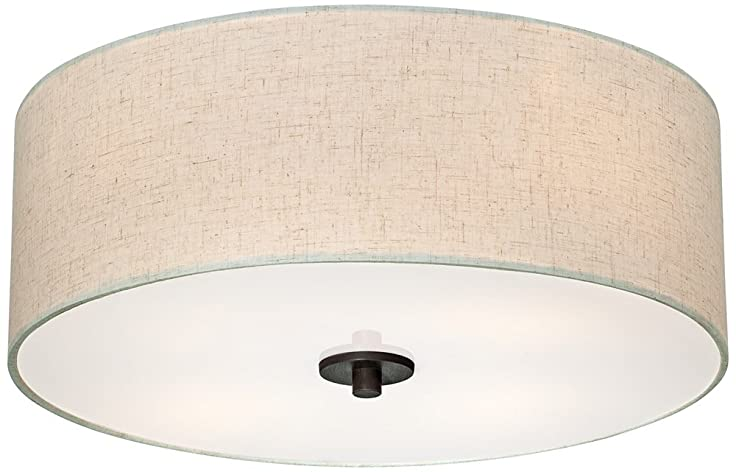Bronze with off white shade 18 wide ceiling light fixture close bronze with off white shade 18quot wide ceiling light fixture aloadofball Gallery