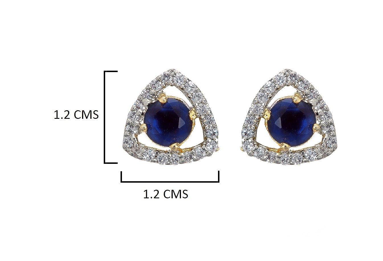 Zaveri Pearls Womens Lavishing Cubic Zirconia /& Blue Saphire Stud Earring Multi-Colour