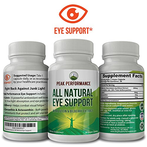 Eye Support Supplement / Vitamins with Carotenoids Lutein and Bilberry Extract by Peak Performance. Great Eye Protection for Computer Users. With Zeaxanthin and Astaxanthin. 30 Vegan Capsules (1 pack) by Peak Performance Coffee (Image #1)