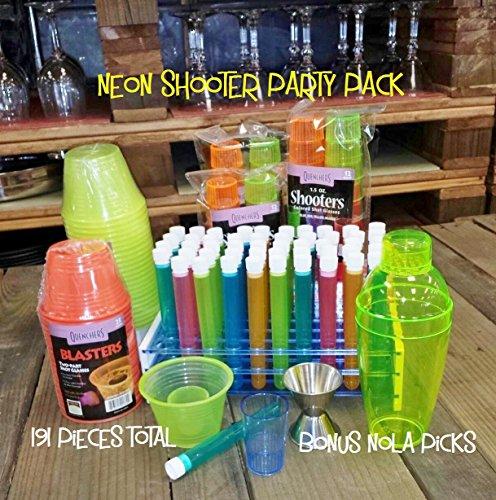 Shooter Party Pack Neon, Includes Test Tube Shot Glasses w/Rack, Bomber Shot Cups, 1.5 oz Shot Cups and Shaker w/Bonus FDL Picks