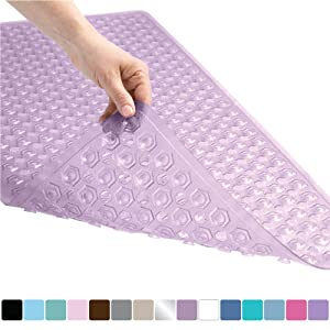 Gorilla Grip Original Patented Bath, Shower, Tub Mat, 35x16, Machine Washable, Antibacterial, BPA, Latex, Phthalate Free, Bathtub Mats with Drain Holes, Suction Cups, XL Size Bathroom Mats, Purple