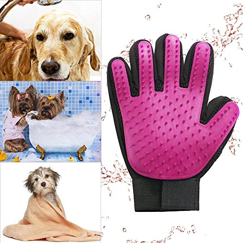 Zlimio Pet Dog Grooming Cleaning Glove Deshedding Right Handed Hair Removal Massage Brush, Perfect for Dogs & Cats with Long & Short Fur-By