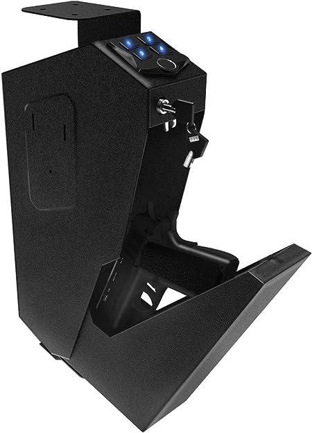 RPNB Mounted Gun Safe with Auto Open Lid Biometric Fingerprint Lock, California DOJ Certified Handgun Safe