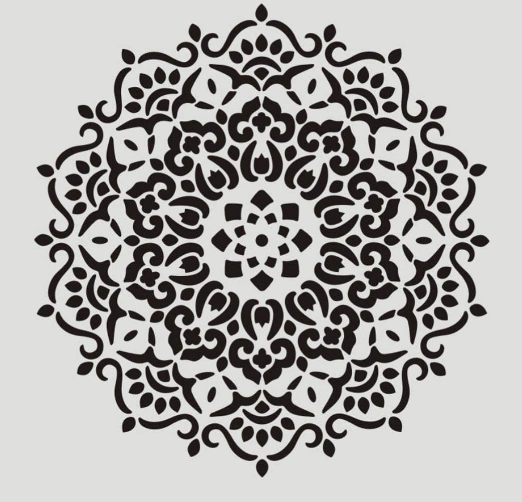 Reusable Stencils Laser Cut Painting Template for Wall Tile Wood Furniture Fabric 12x12 inch Mandala Floor Painting Stencils Set