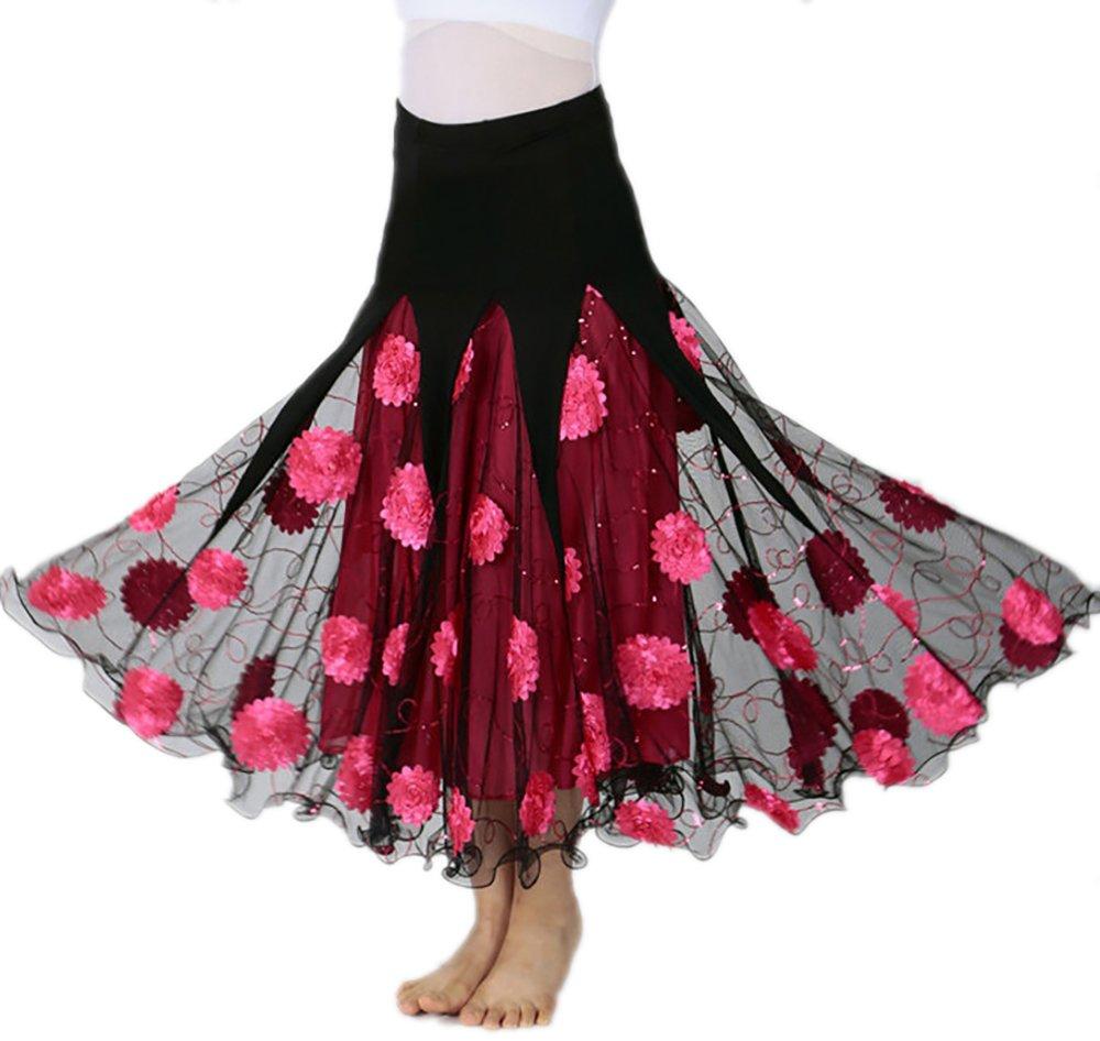 Long Ballroom Smooth Flamenco Fashion Waltz Modern Dance Skirts Clothes Cheap,Pink,One Size