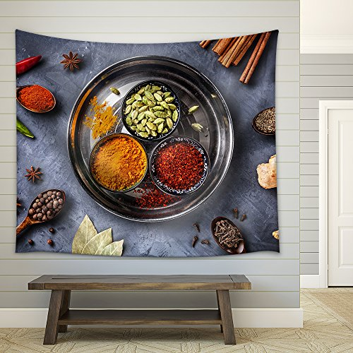 Various Spices Like Turmeric Cardamom Chili Bayberry Bay Leaf Paprika Ginger Fabric Wall Tapestry