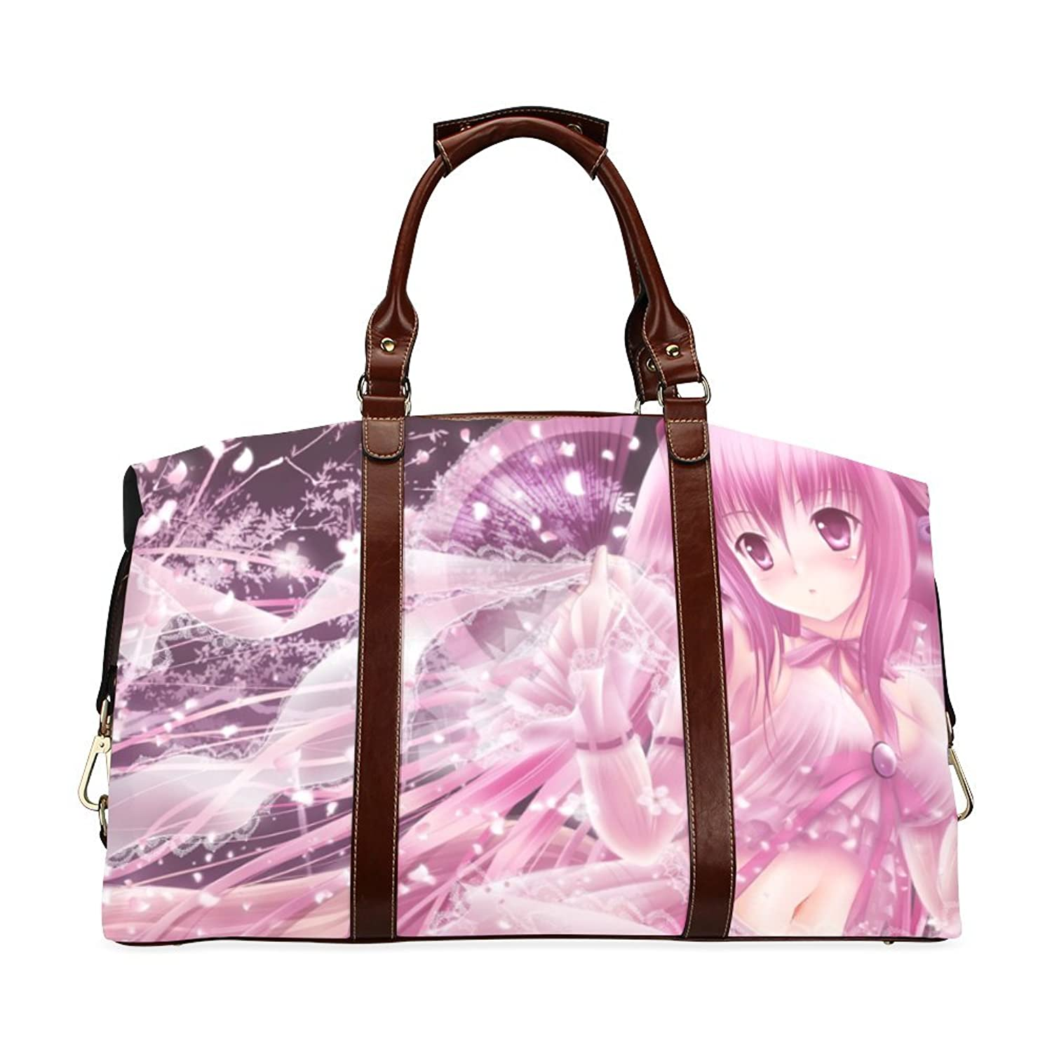 Pink Anime Girl Custom Waterproof Fabric Two-sided Printing Flight Bag