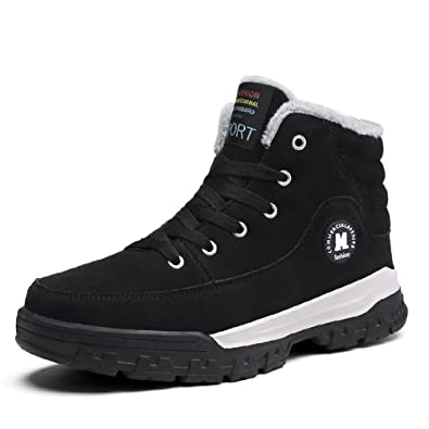 Men Winter Snow Boots High Top Casual Shoes Antiskid Warm Sneaker Suede Leather Fur Lining