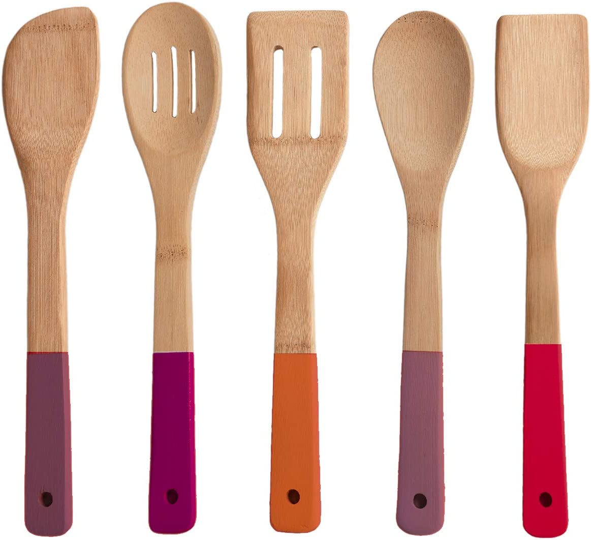 Wooden Spoons And Cooking Utensils With Colorful Silicone Handles Nonstick Spatula Turner Mixing Forked And Slotted