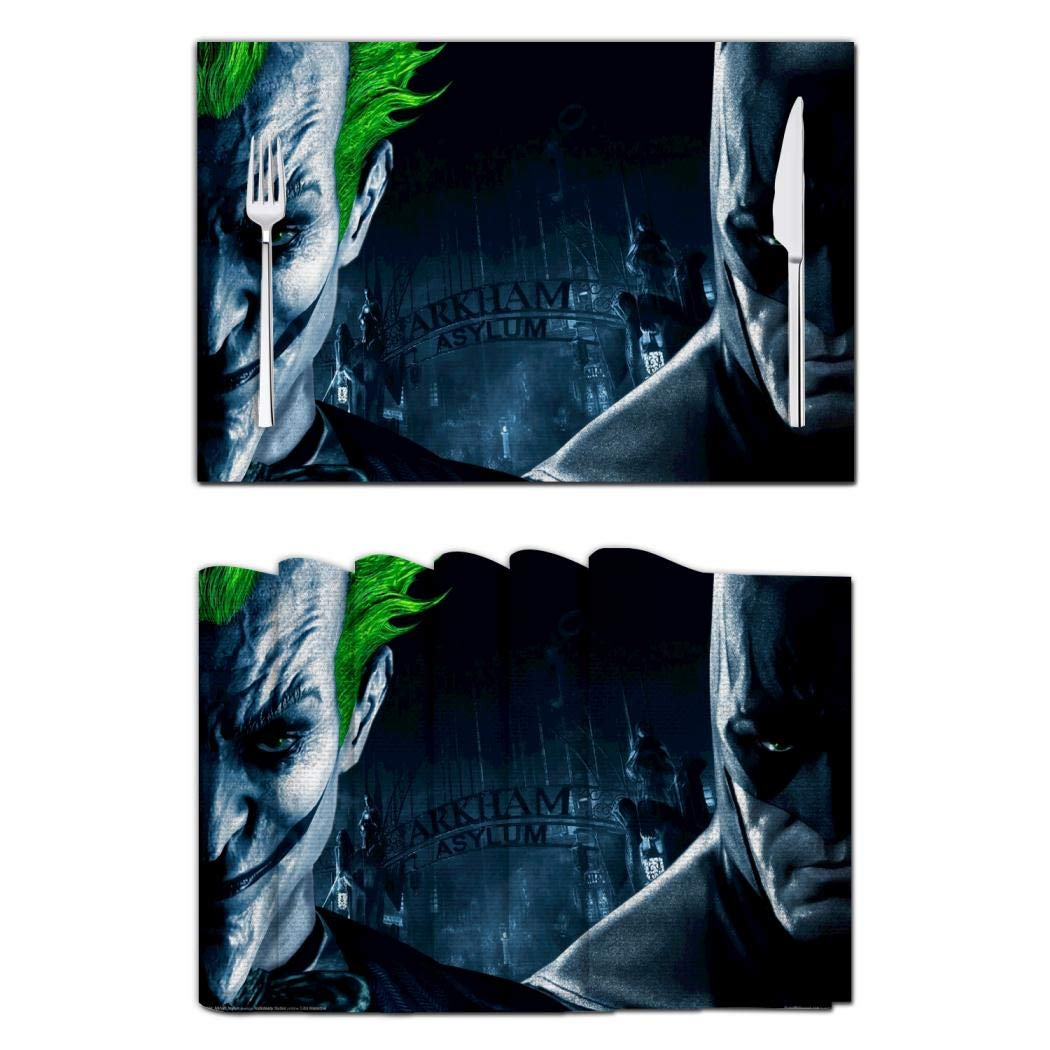 The Jo-Ker Vs Bat-man Placemats Kitchen Table Mats Placemat Set of 6 Easy to Clean Non-Slip Place Mats Heat Resistant for Dining Table Decoration