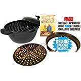 SEEN ON TV Minden Anytime Grill - BLACK For use w/ gas & electric stovetops WITH FREE DELUXE EPANDER RING AND FLEXIBLE GRILLING SKEVER