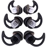 6 Pairs Silicone Ear Tips Earbuds Buds Stayhear for Bose QC30 QC20 SIE2i IE2 IE3 Soundsport Wireless Headphones, (Black)