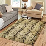 Cheap InterestPrint Home Decoration Old Paper Vintage Skull Area Rug 7′ x 5′ Feet – Tattoo Art Carpet Rugs for Home Kitchen Living Dining Room Bathroom