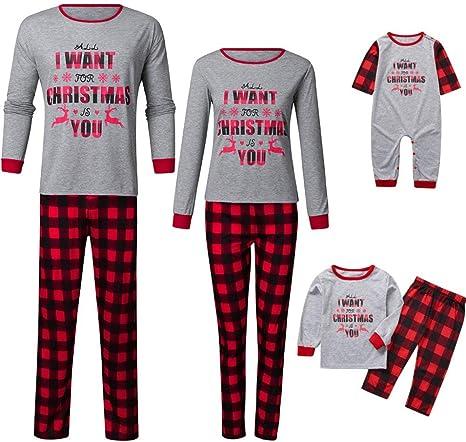 UK Family Matching Christmas Pajamas Set Women Men Kids Xmas Sleepwear Nightwear